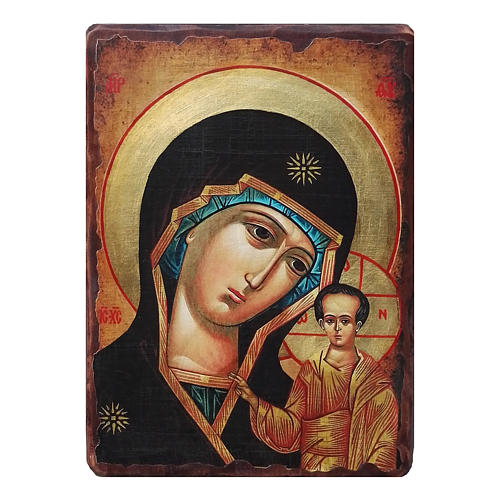 Icona russa dipinta découpage Madonna di Kazan 18x14 cm 1