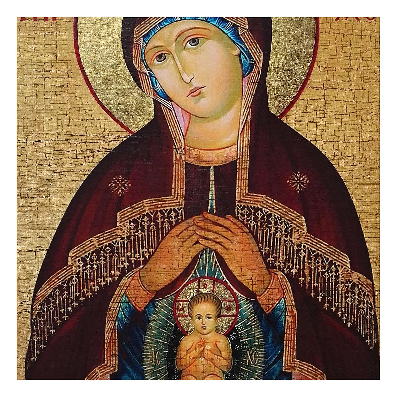 Icona Russia dipinta découpage Madonna dell'aiuto nel parto 24x18 cm 4