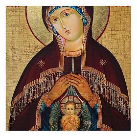 Ícone Rússia pintado com decoupáge Nossa Senhora do Bom Parto 18x14 cm s2