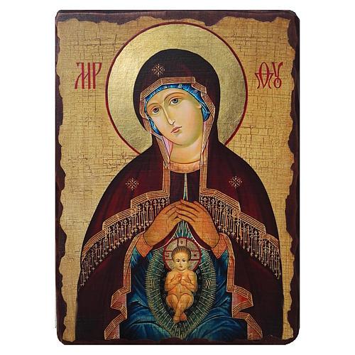 Ícone Rússia pintado com decoupáge Nossa Senhora do Bom Parto 18x14 cm 1
