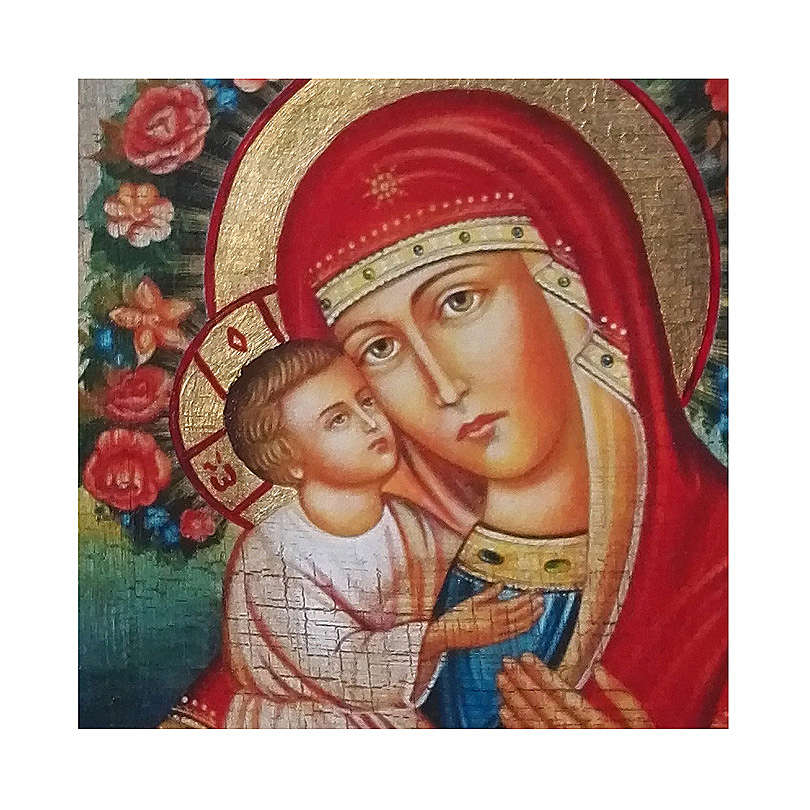 Icona russa dipinta découpage Madonna Zhirovitskaya 24x18 cm 4
