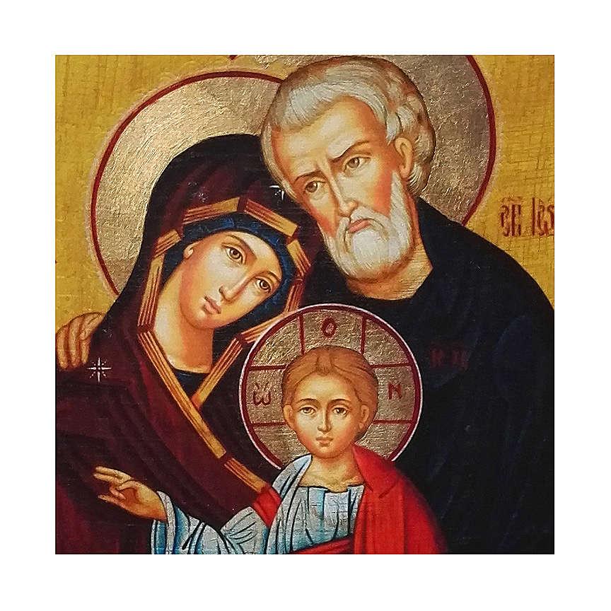 Icono rusa pintado decoupage Sagrada Familia 24x18 cm 4