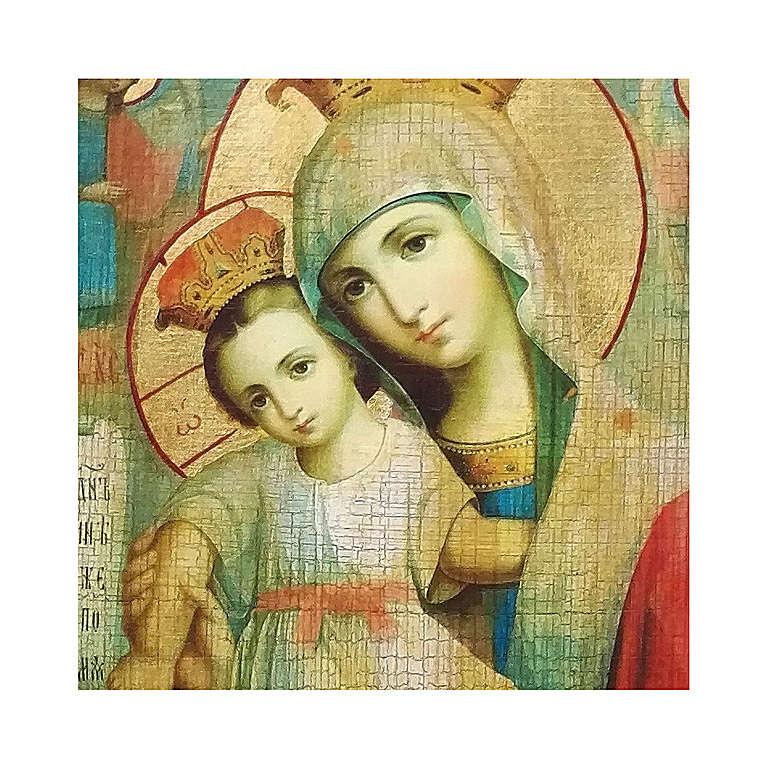 Icona russa dipinta découpage Madonna Veramente Degna 24x18 cm 4
