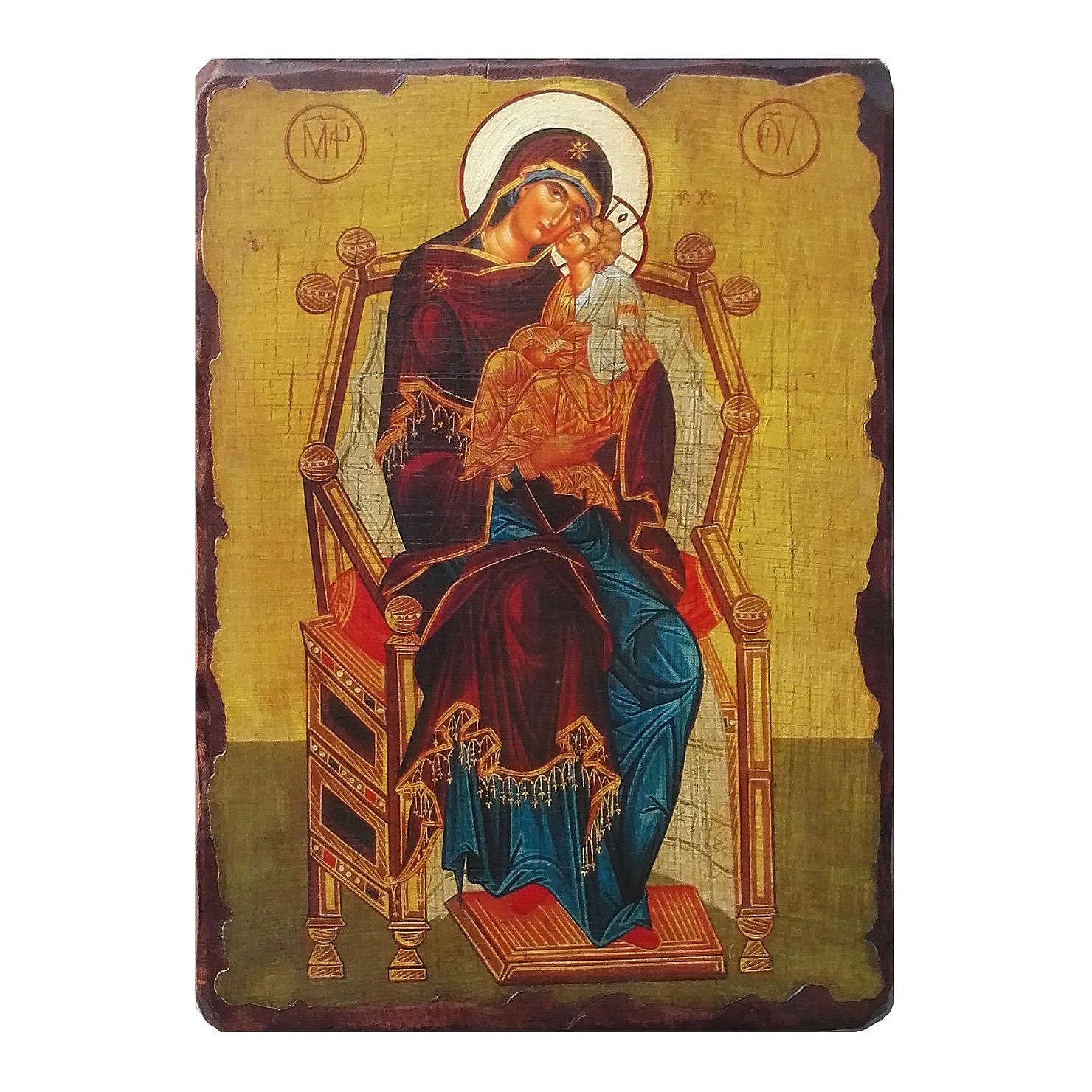Icona Russia dipinta découpage della Madre di Dio Pantanassa 24x18 cm 4