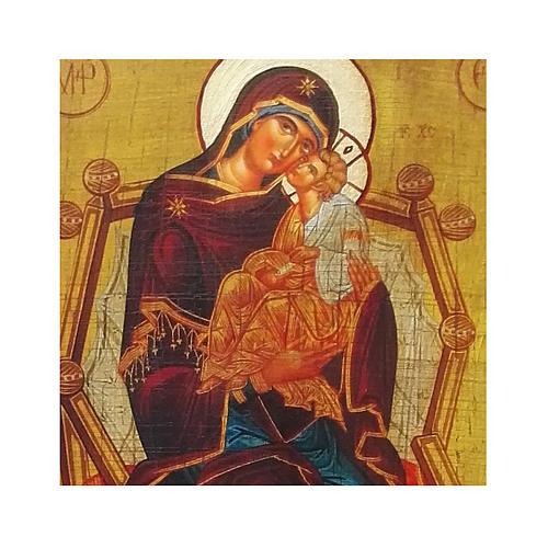 Icona Russia dipinta découpage della Madre di Dio Pantanassa 24x18 cm 2