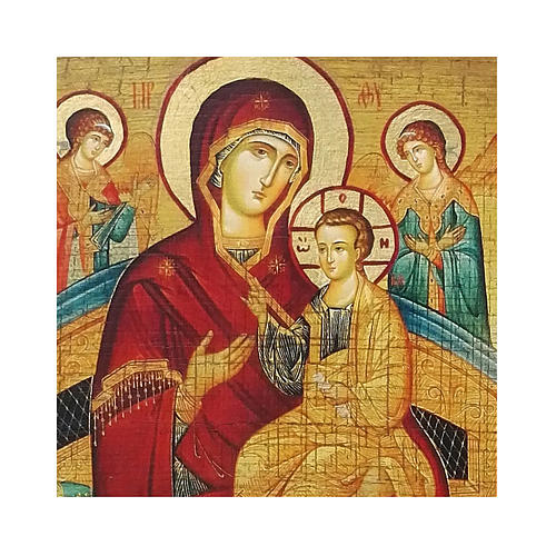 Icona russa dipinta découpage Madre di Dio Pantanassa 24x18 cm 2