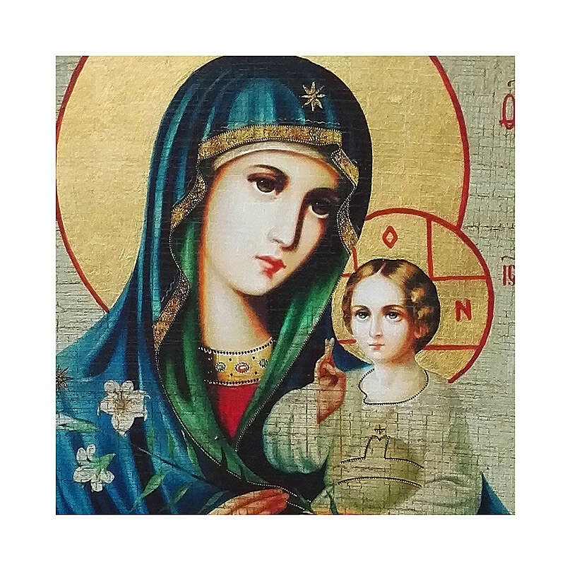 Russian icon decoupage, Madonna of White Lily 24x18 cm 4