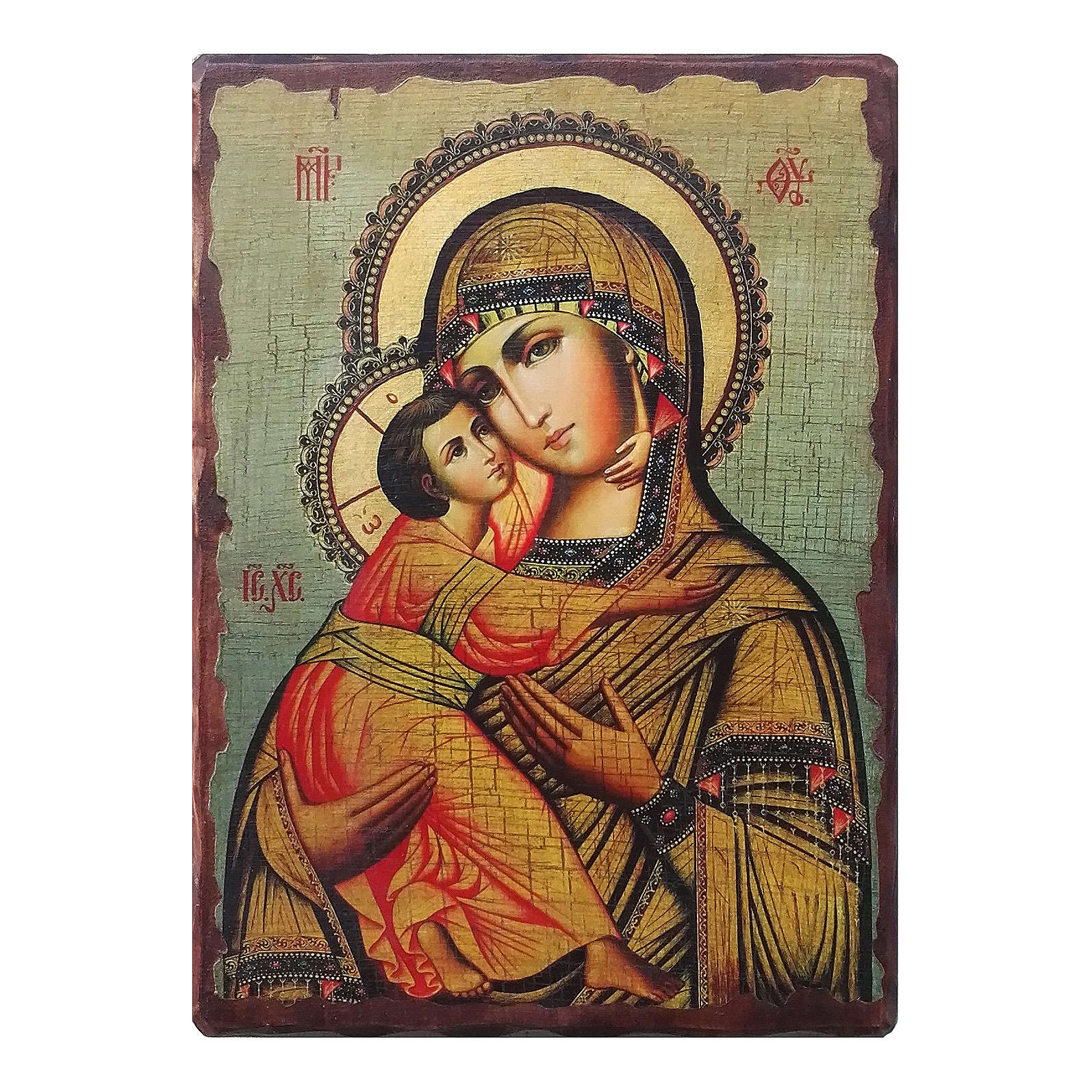 Russian icon Our Lady of Vladimir, painted and decoupaged 23x17 cm 4
