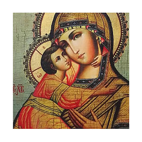 Russian icon Our Lady of Vladimir, painted and decoupaged 23x17 cm s2