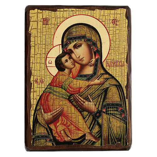Icona Russia dipinta découpage Madonna di Vladimir 24x18 cm 1