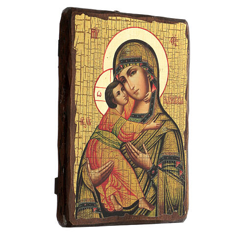 Icona Russia dipinta découpage Madonna di Vladimir 24x18 cm 3