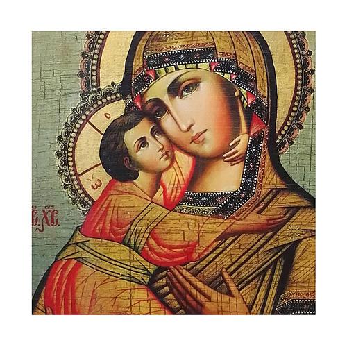 Ícone Rússia pintado com decoupáge Virgem de Vladimir 24x18 cm 2