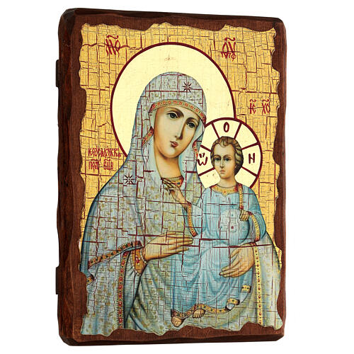 Icona Russia dipinta découpage Madonna di Gerusalemme 24x18 cm 3