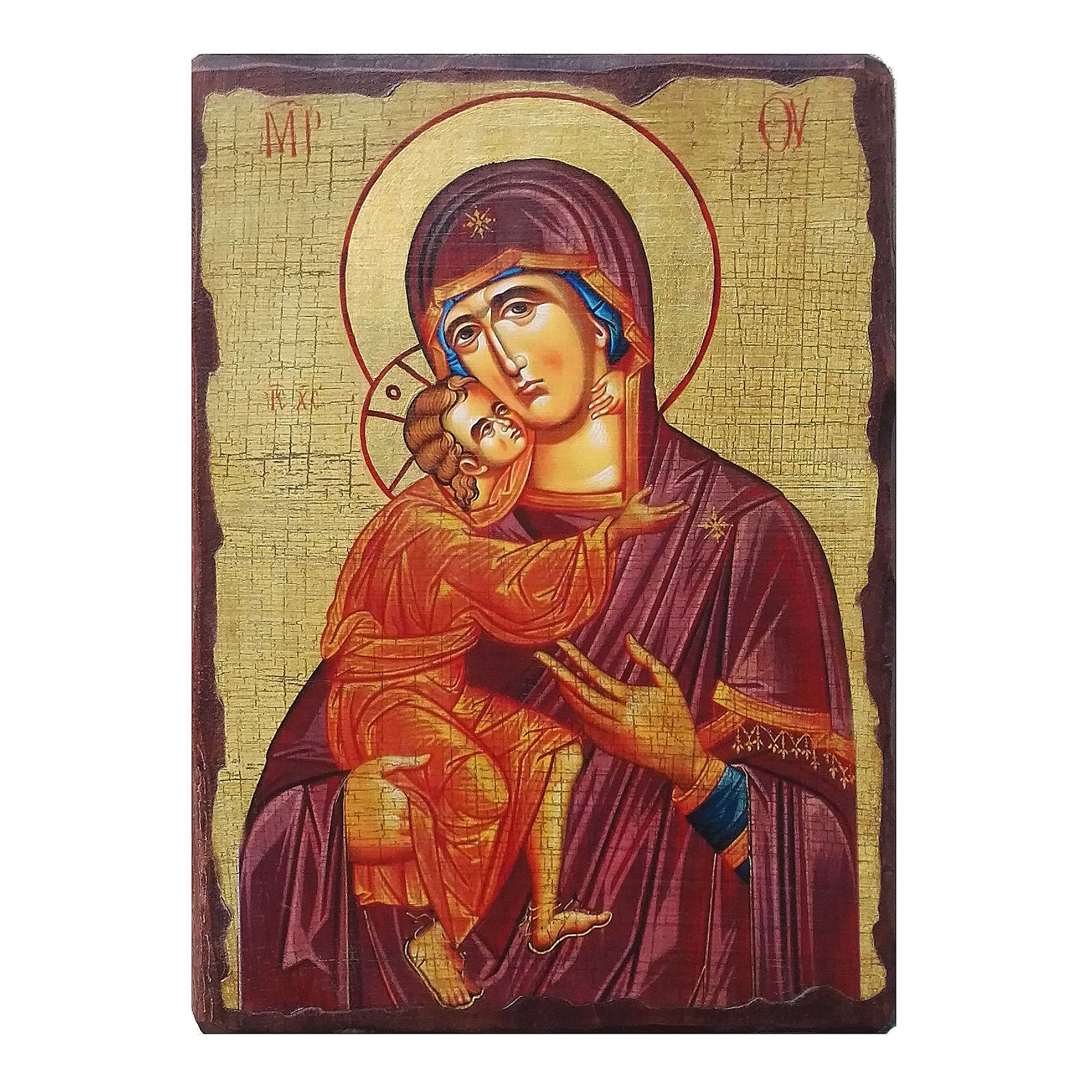 Icona russa dipinta découpage Madonna di Vladimir 24x18 cm 4