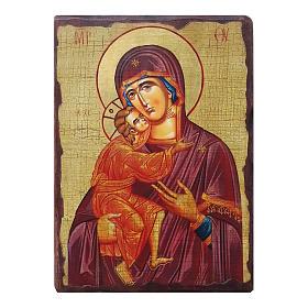 Icona russa dipinta découpage Madonna di Vladimir 24x18 cm s1
