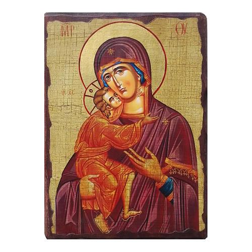 Icona russa dipinta découpage Madonna di Vladimir 24x18 cm 1