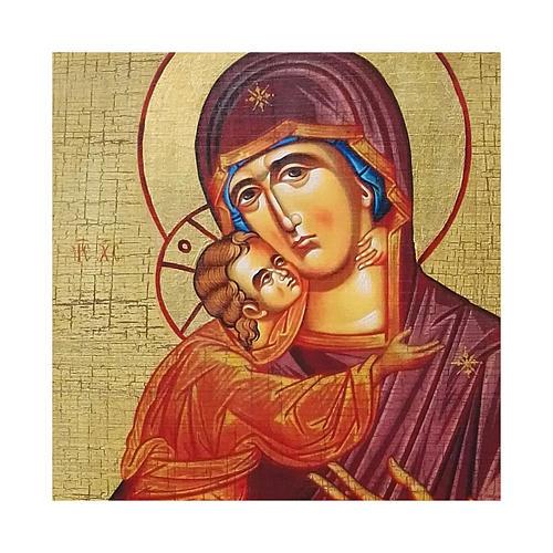 Icona russa dipinta découpage Madonna di Vladimir 24x18 cm 2