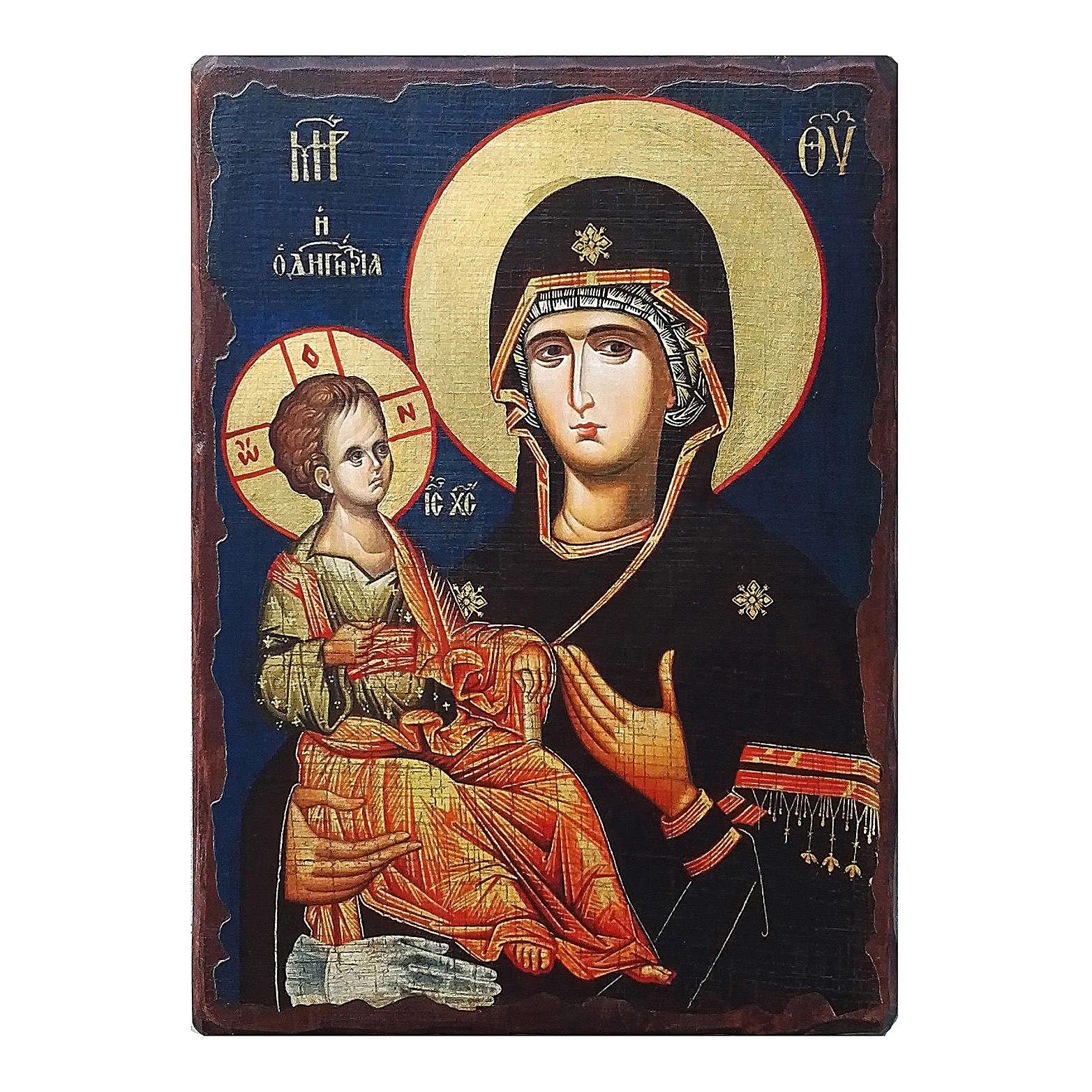 Icona russa dipinta découpage Madonna dalle tre mani 24x18 cm 4