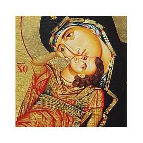 Icono ruso pintado decoupage Virgen Eleousa 24x18 cm s2