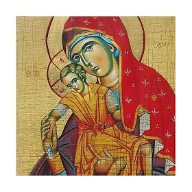 Icona russa dipinta découpage Madonna Kikkotissa 24x18 cm s2