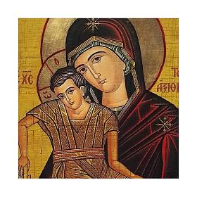 Icona Russia dipinta découpage Madonna Veramente Degna 24x18 cm s2