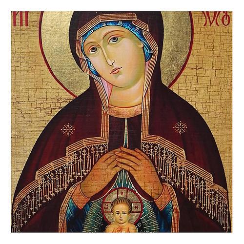 Icona Russia dipinta découpage Madonna dell'aiuto nel parto 18x24 cm 2