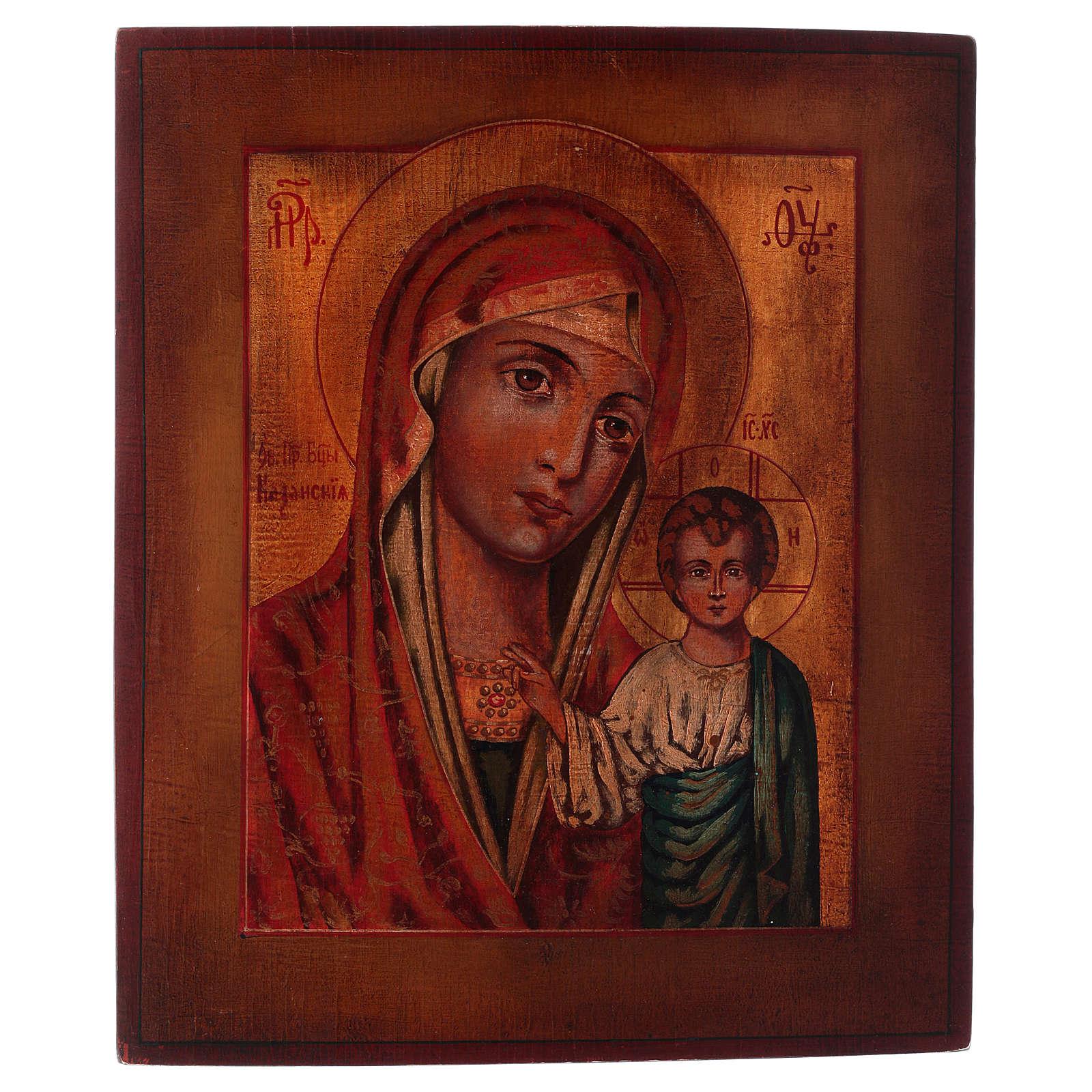 Icona Madonna di Kazan stile russa dipinta legno tiglio 34x28 cm 4