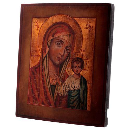 Icona Madonna di Kazan stile russa dipinta legno tiglio 34x28 cm 3