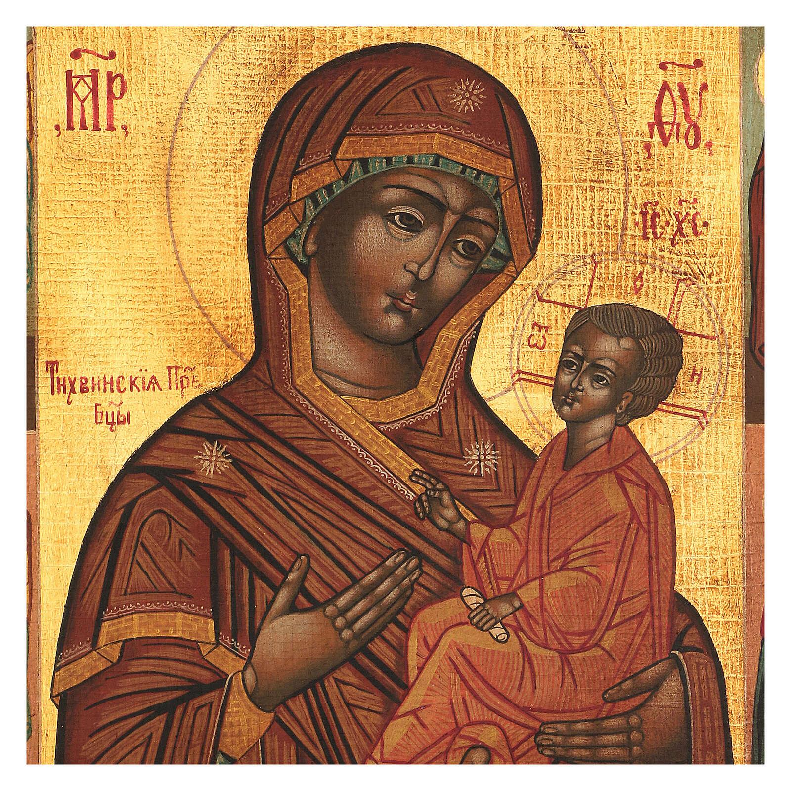 Icona Madonna di Tychvin dipinta legno tiglio 34x28 cm stile Russia antico 4