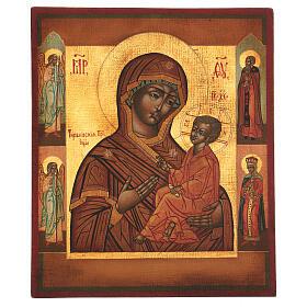 Icona Madonna di Tychvin dipinta legno tiglio 34x28 cm stile Russia antico s1