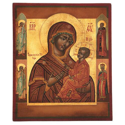 Icona Madonna di Tychvin dipinta legno tiglio 34x28 cm stile Russia antico 1