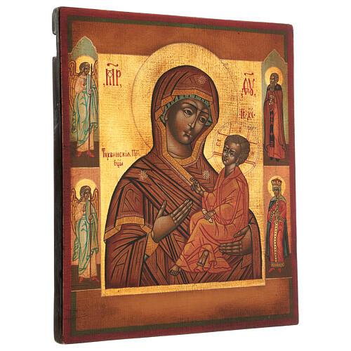 Icona Madonna di Tychvin dipinta legno tiglio 34x28 cm stile Russia antico 3