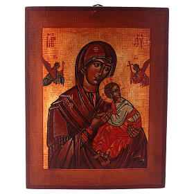 Icônes Russes peintes: Icône Notre-Dame du Perpétuel Secours style russe peinte 34x28 cm