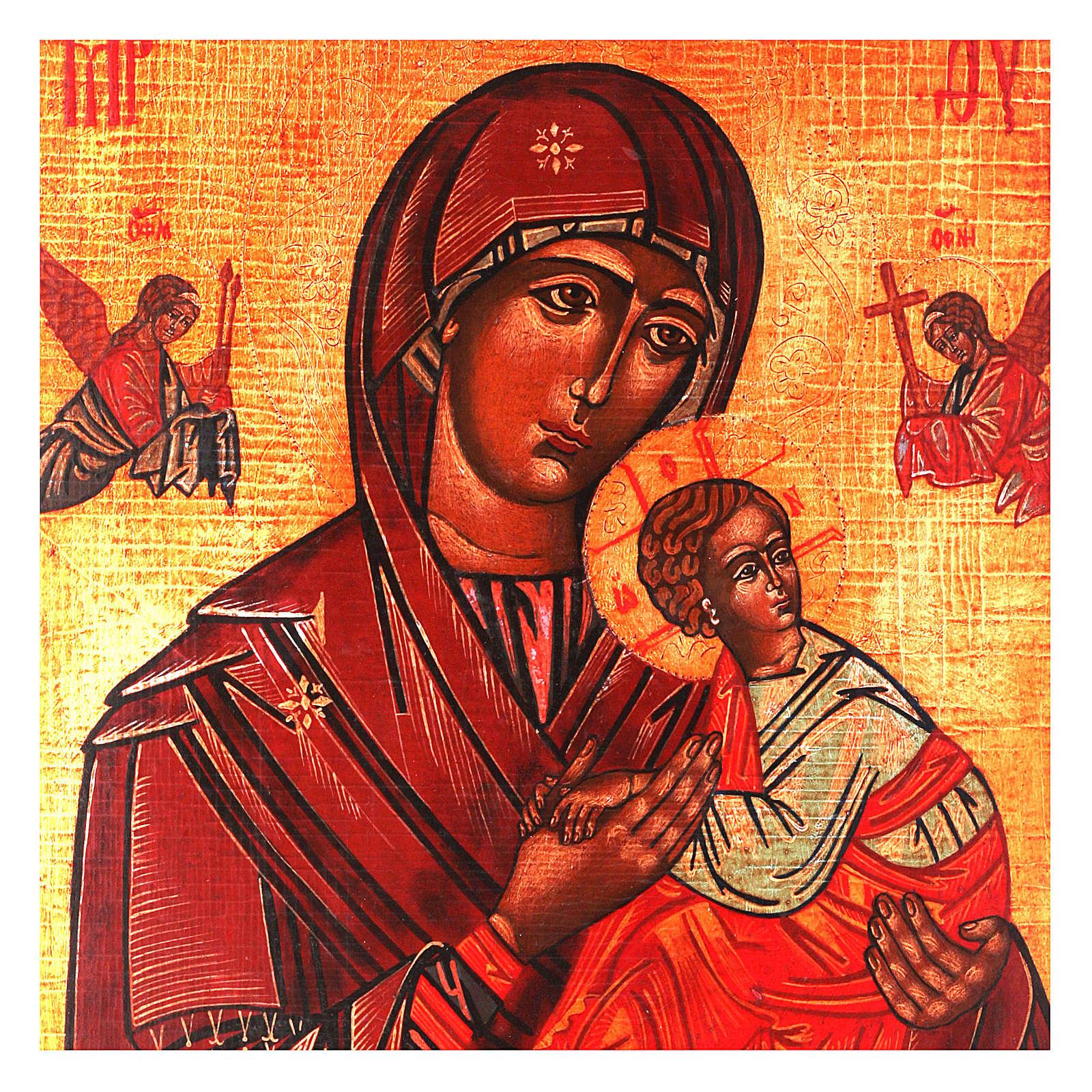 Icona Madonna del Perpetuo Soccorso stile russa dipinta 34x28 cm 4