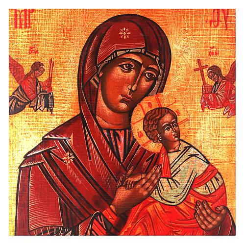 Icona Madonna del Perpetuo Soccorso stile russa dipinta 34x28 cm 2