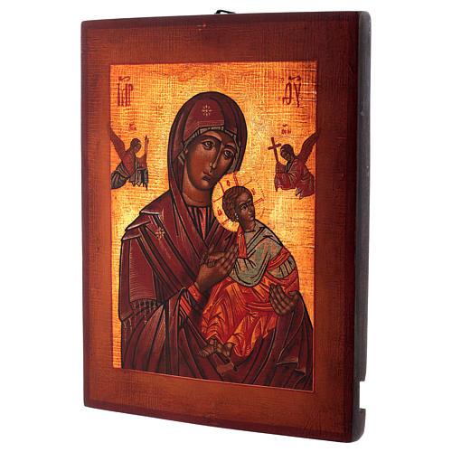 Icona Madonna del Perpetuo Soccorso stile russa dipinta 34x28 cm 3