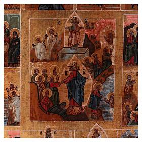 Icona Tutte le Feste dipinta su legno 34x28 cm stile Russia antichizzata s2