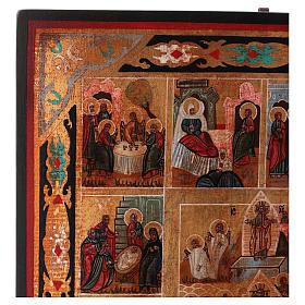 Icona Tutte le Feste dipinta su legno 34x28 cm stile Russia antichizzata s3