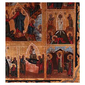 Icona Tutte le Feste dipinta su legno 34x28 cm stile Russia antichizzata s4