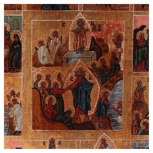 Icona Tutte le Feste dipinta su legno 34x28 cm stile Russia antichizzata 2