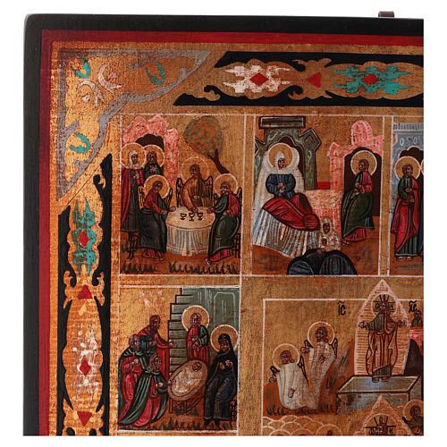 Icona Tutte le Feste dipinta su legno 34x28 cm stile Russia antichizzata 3