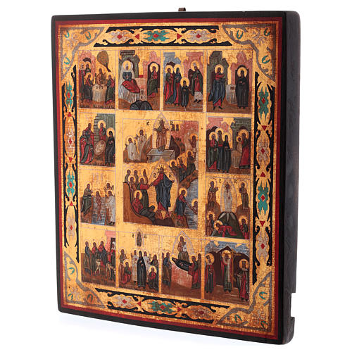 Icona Tutte le Feste dipinta su legno 34x28 cm stile Russia antichizzata 5