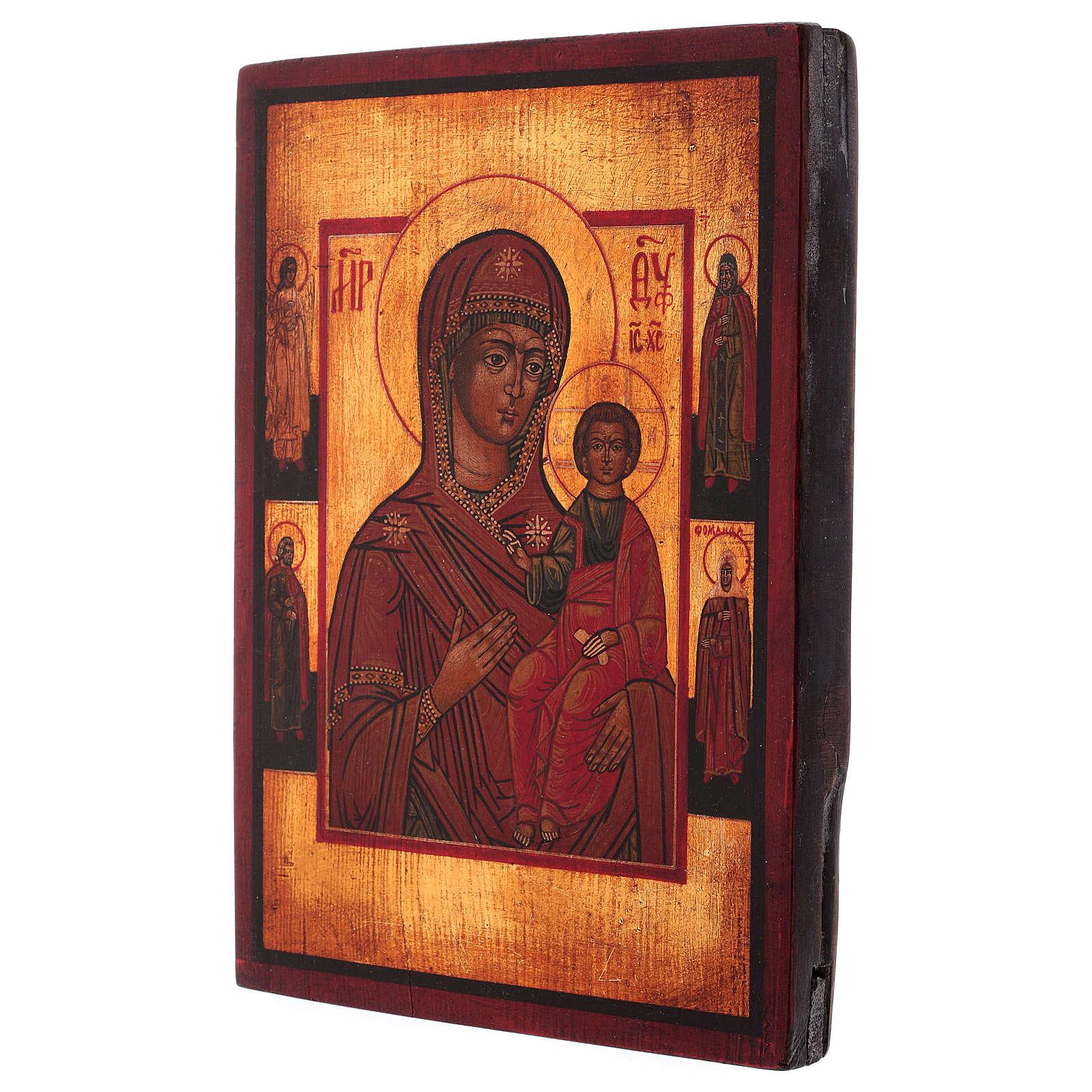 Icône Vierge de Smolensk peinte 24x20 cm style russe ancien 4