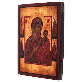 Icône Vierge de Smolensk peinte 24x20 cm style russe ancien s3
