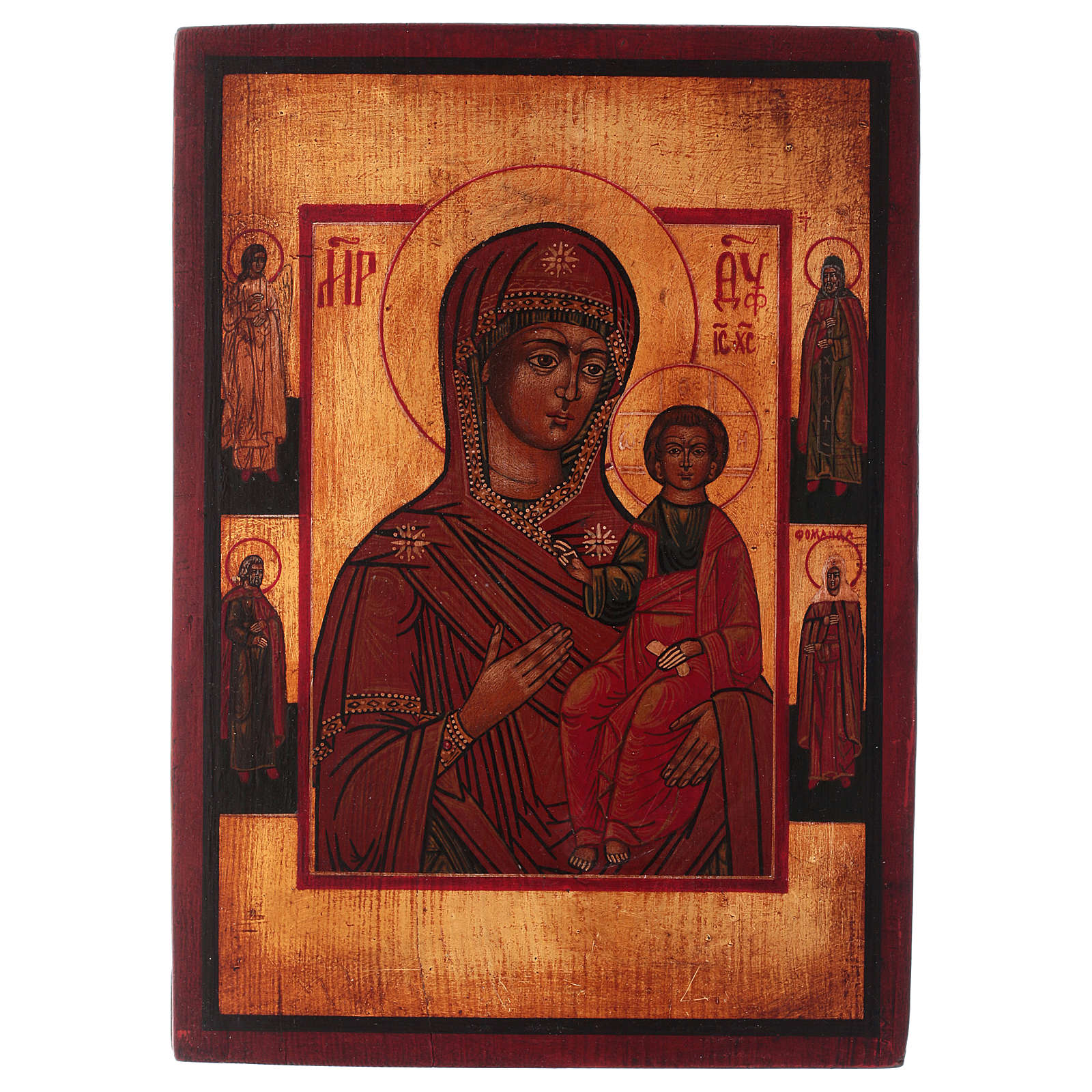 Icona Madonna di Smolensk dipinta 24x20 cm stile russa antichizzata 4