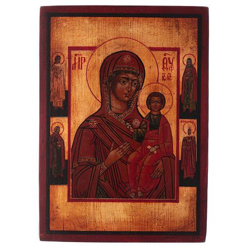 Icona Madonna di Smolensk dipinta 24x20 cm stile russa antichizzata 1
