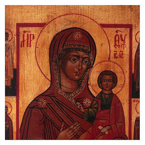 Icona Madonna di Smolensk dipinta 24x20 cm stile russa antichizzata 2