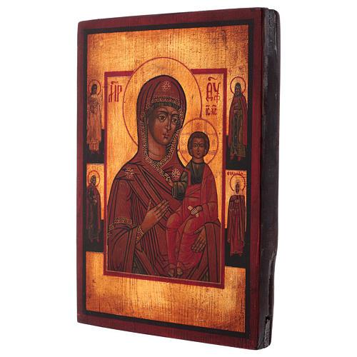 Icona Madonna di Smolensk dipinta 24x20 cm stile russa antichizzata 3