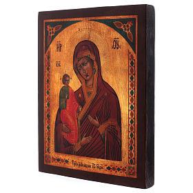 Icona Madonna di Troiensk dipinta a mano 24x20 cm stile russa antichizzata s3