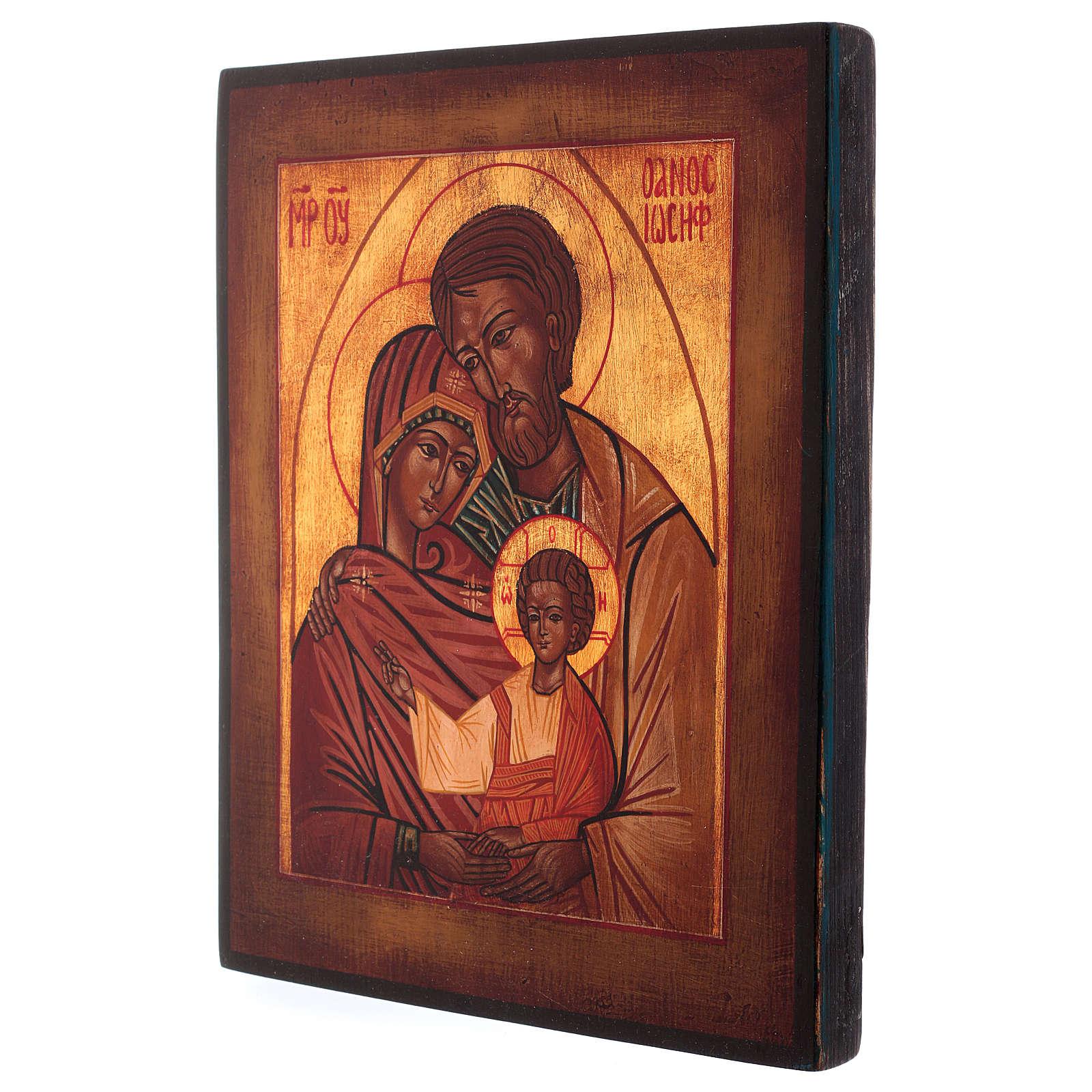 Icona Sacra Famiglia dipinta a mano 24x20 cm stile russa antichizzata 4